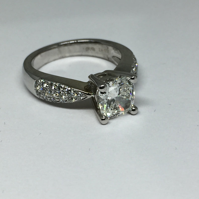 18K WG 1.62 CT CUSHION DIAMOND RING