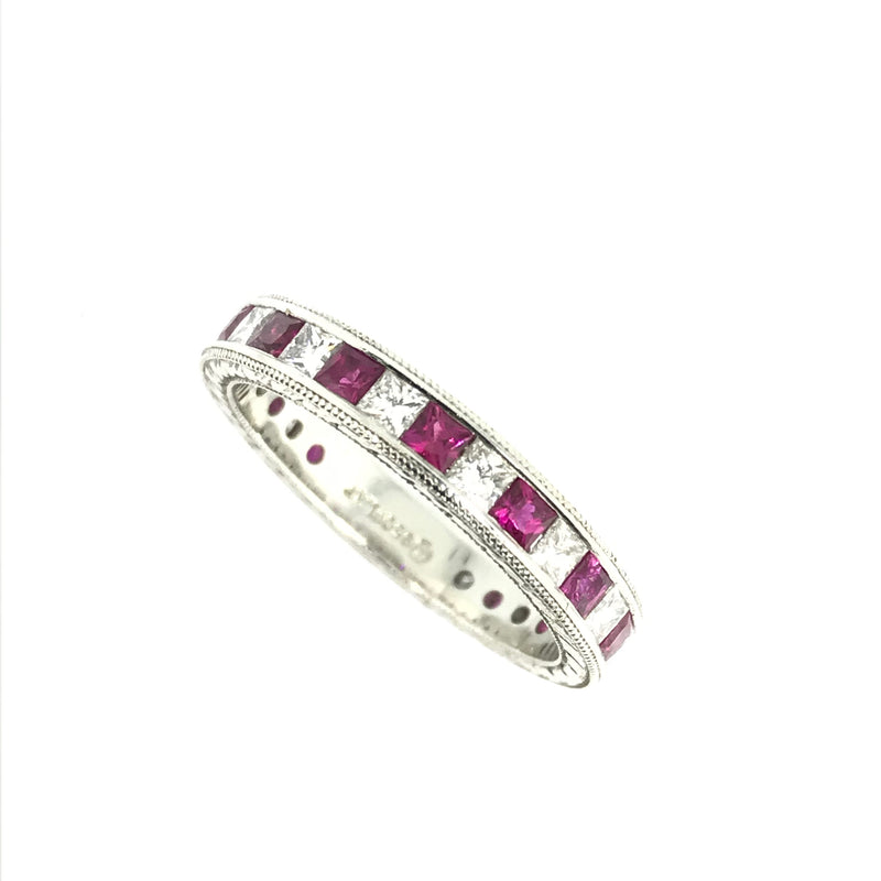 PLATINUM RUBY AND DIAMOND  ETERNITY  BAND