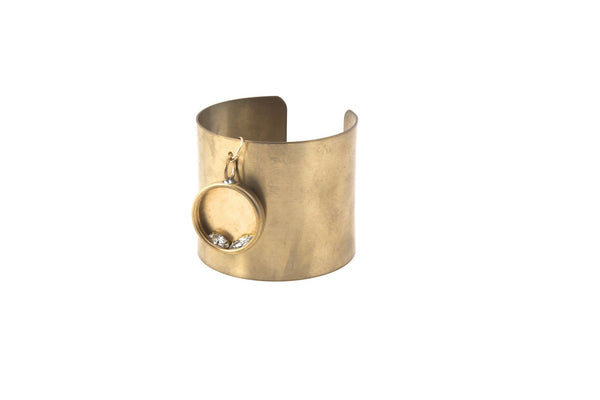 Egyptian Golden Brass Cuff with Swarovski Crystal Bezel Charm-Jewelry-Crystal Dawn Swim