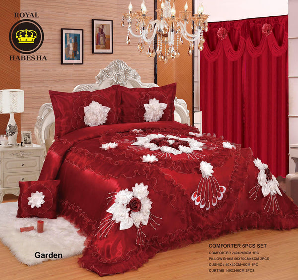 Royal Habesha Satin Comforter with curtains