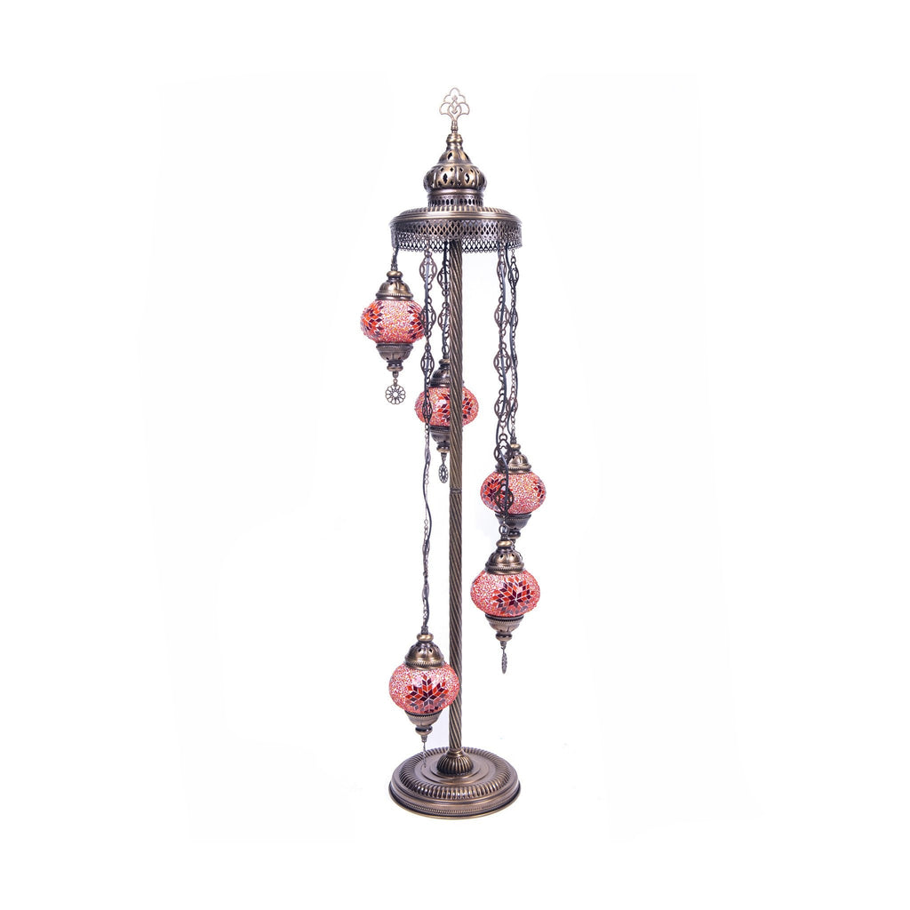 Antique Turkish Mosaic Floor Lamp With 5 Globes - No.2 Size