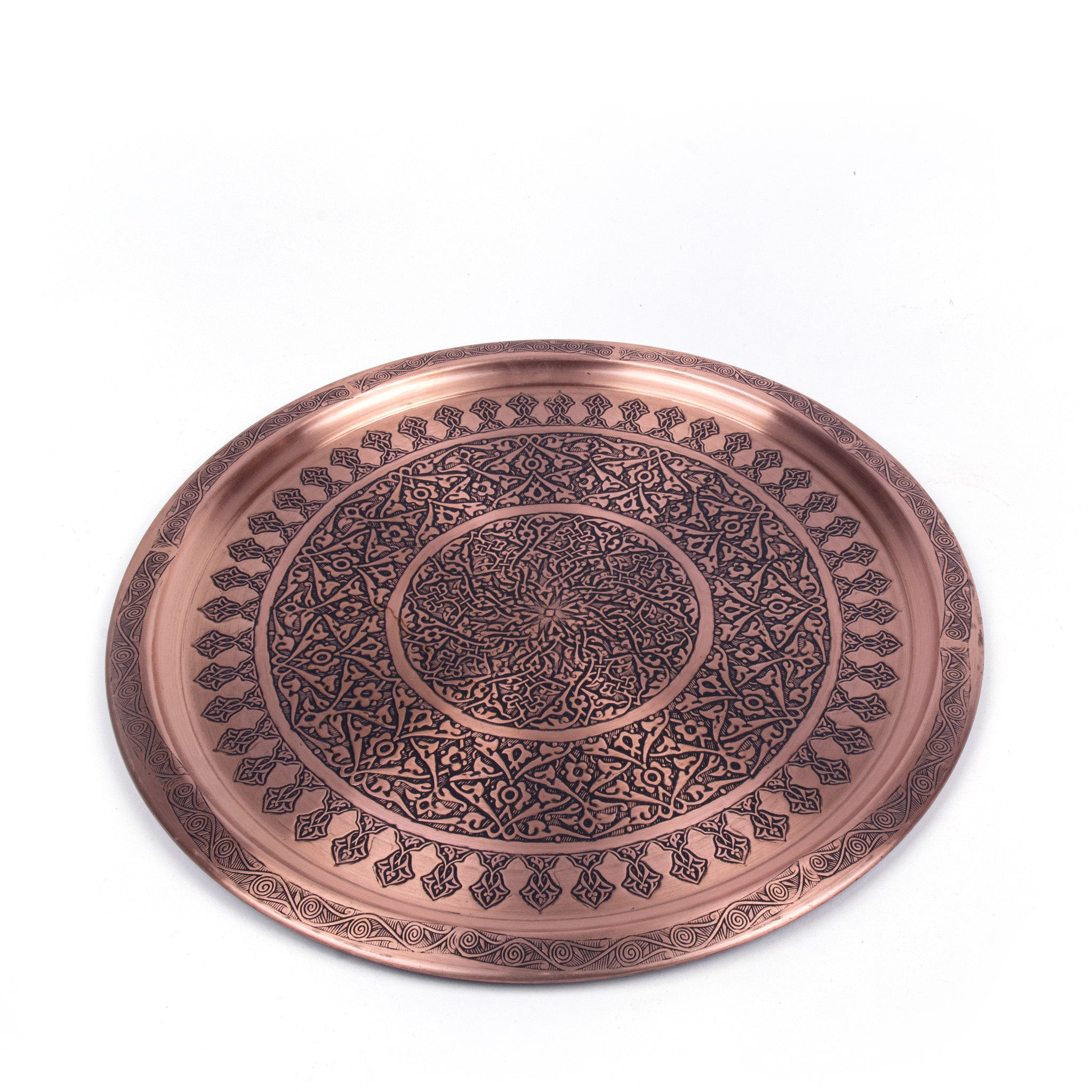 Engraved Antique Round Copper Tray-1