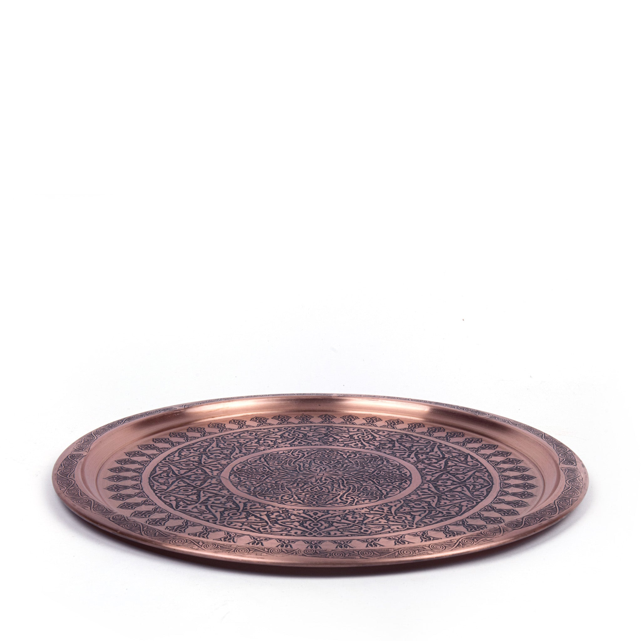 Engraved Antique Round Copper Tray-2