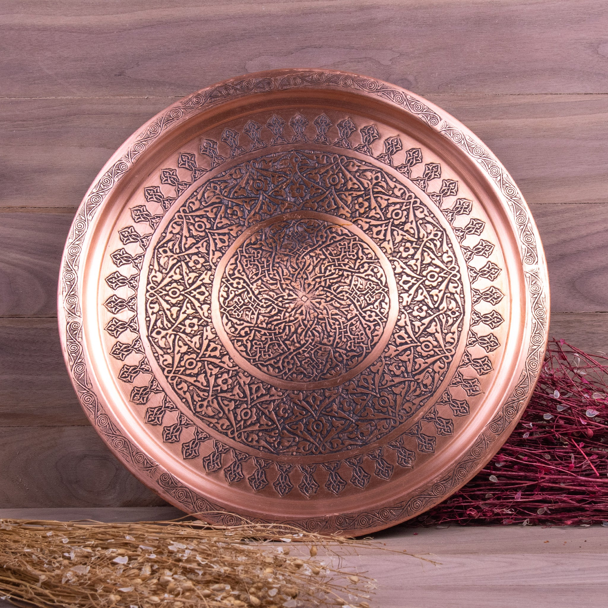 Engraved Antique Round Copper Tray-3