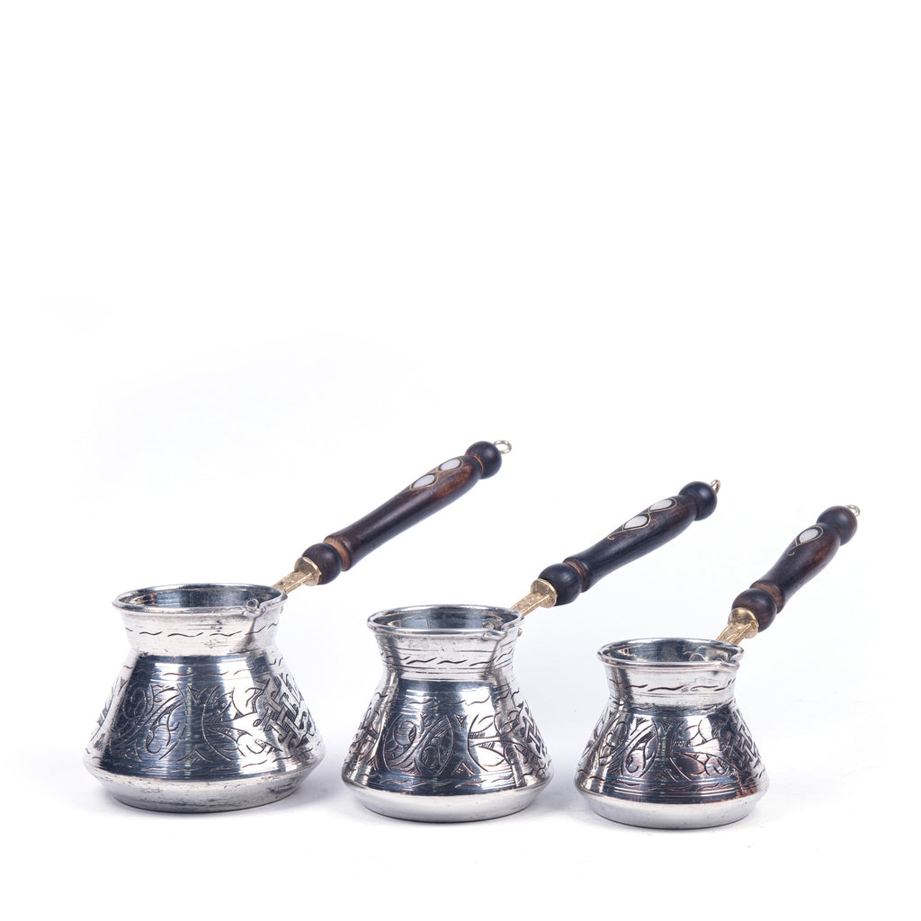 Engraved Copper Turkish Coffee Pot Set Of Three
