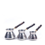 Load image into Gallery viewer, Engraved Copper Turkish Coffee Pot Set Of Three