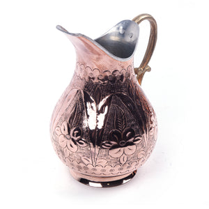 Engraved Embossed Handmade Copper Pitcher-1