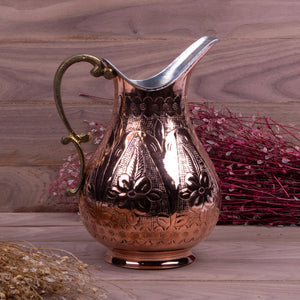Engraved Embossed Handmade Copper Pitcher_