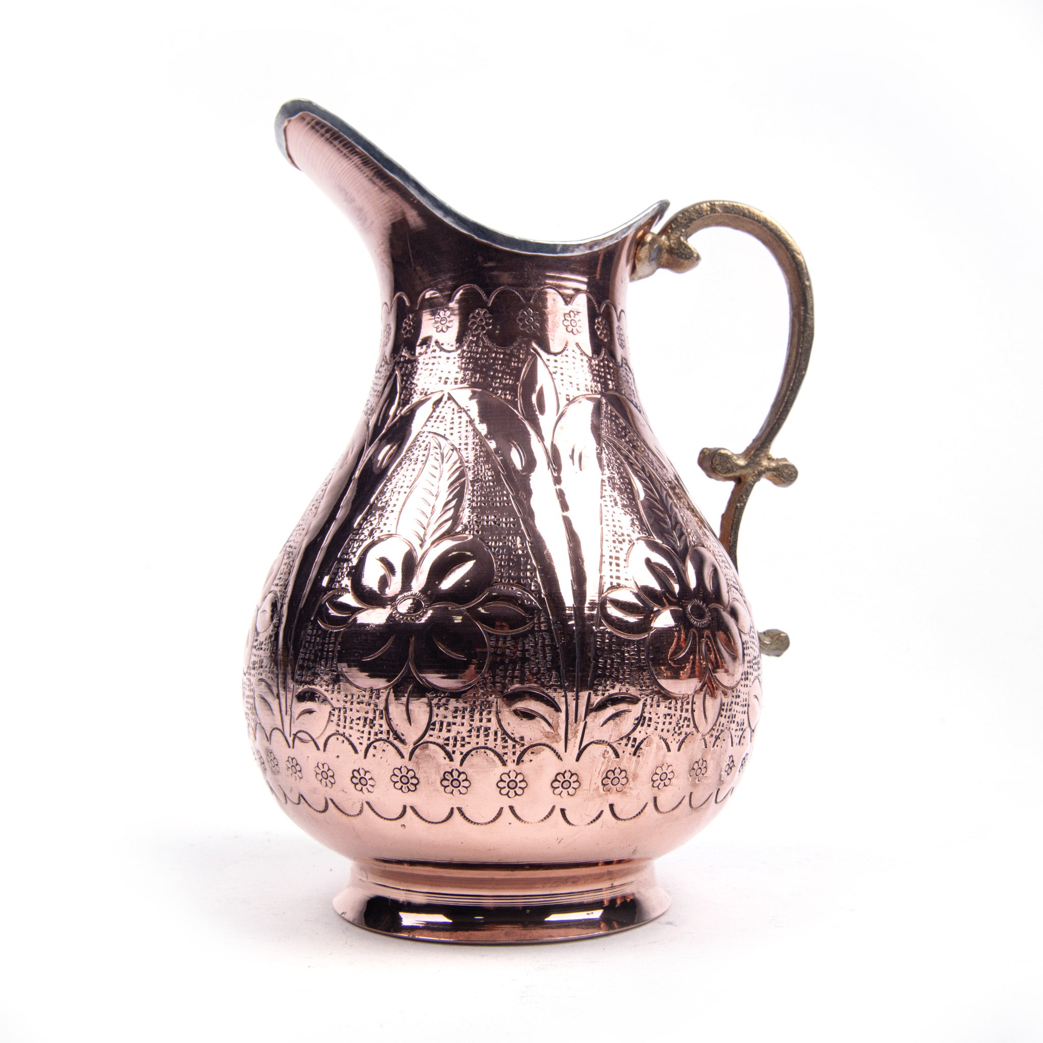 Engraved Embossed Handmade Copper Pitcher