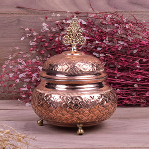 Engraved Handmade Footed Copper Sugar Bowl-3