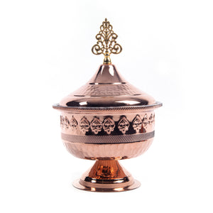 Engraved Oriental Footed Copper Sugar Bowl-1