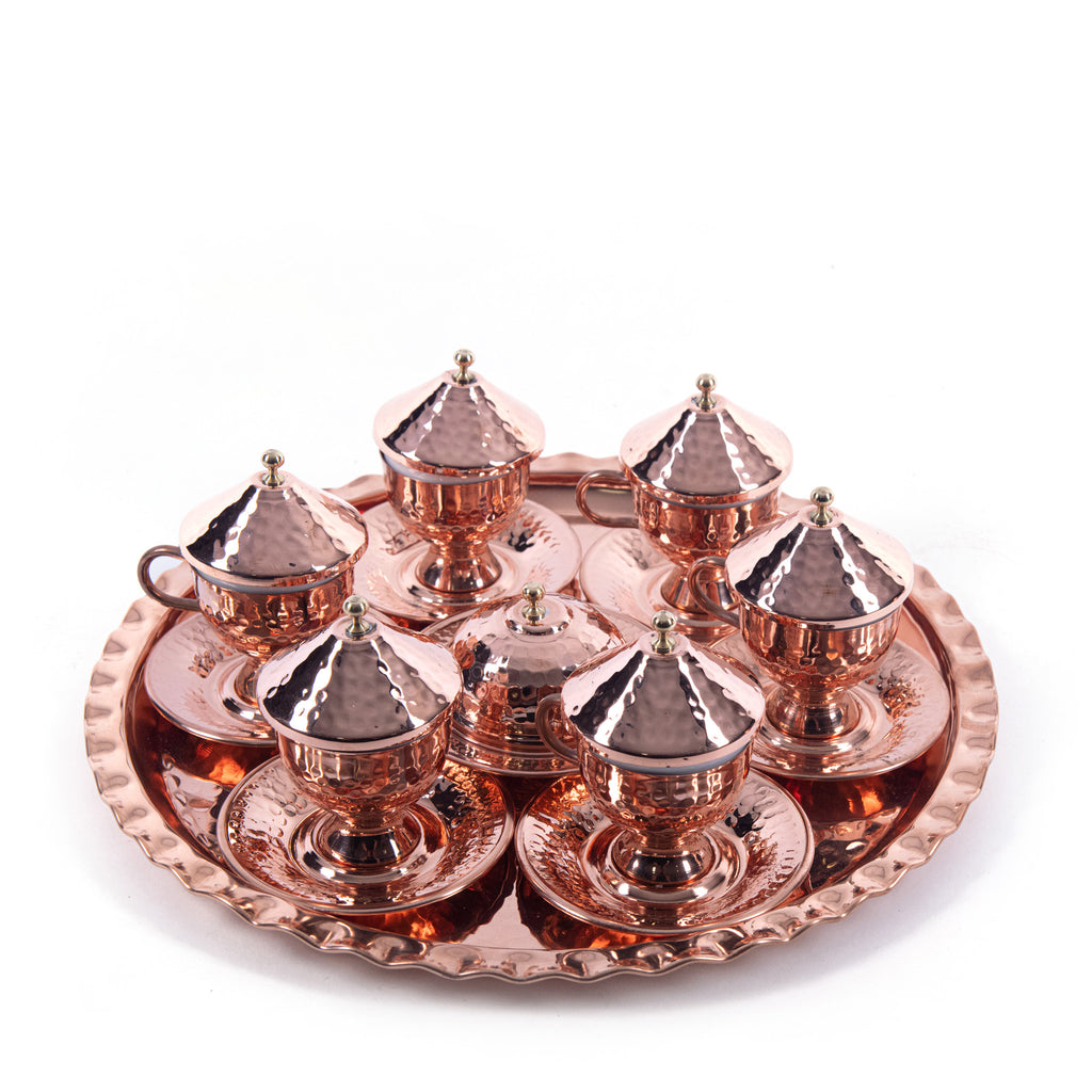 Hammered Handmade Copper Turkish Coffee Set