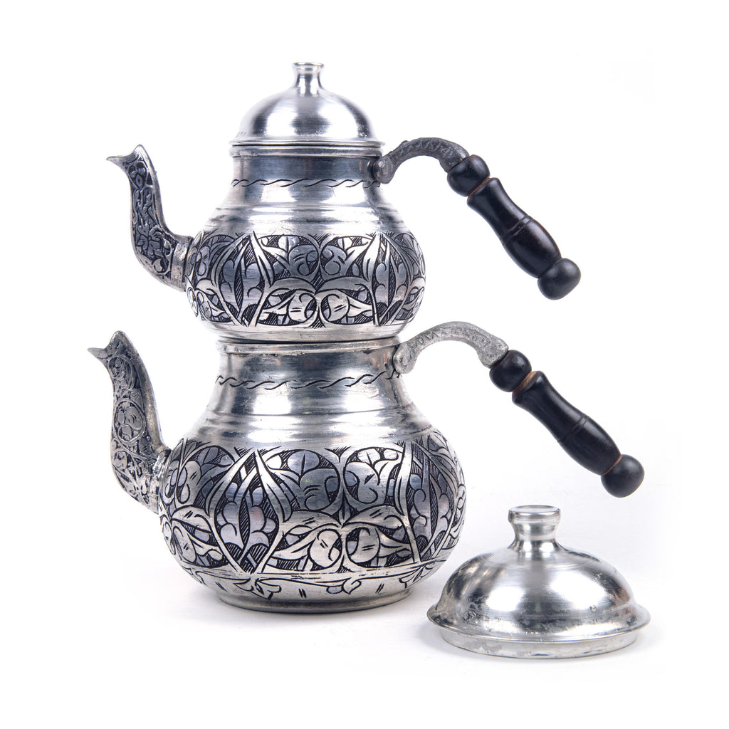 Heavy Engraved Copper Turkish Teapot
