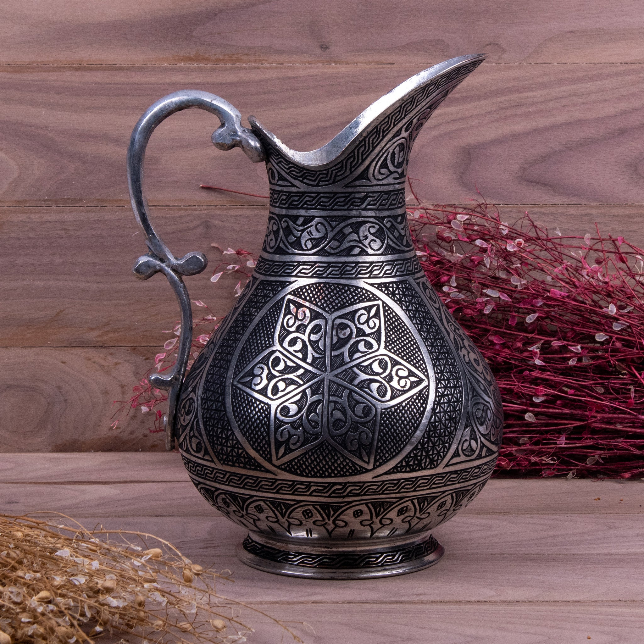 Heavy Engraved Handmade Copper Pitcher_