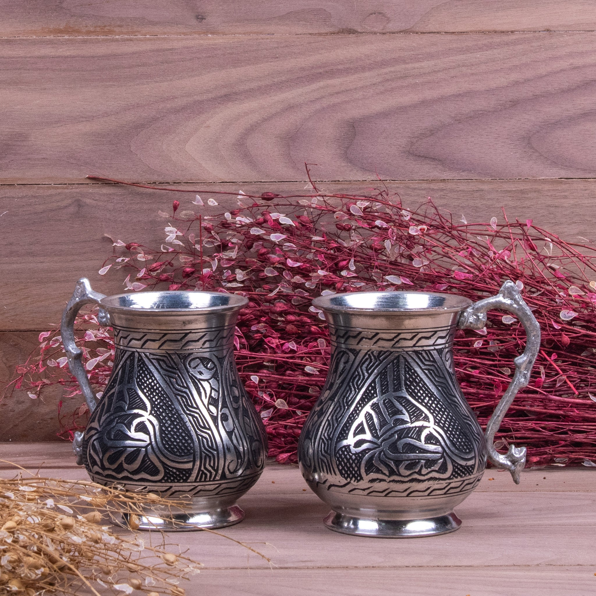 Heavy Engraved Oriental Copper Mug Set Of Two-2