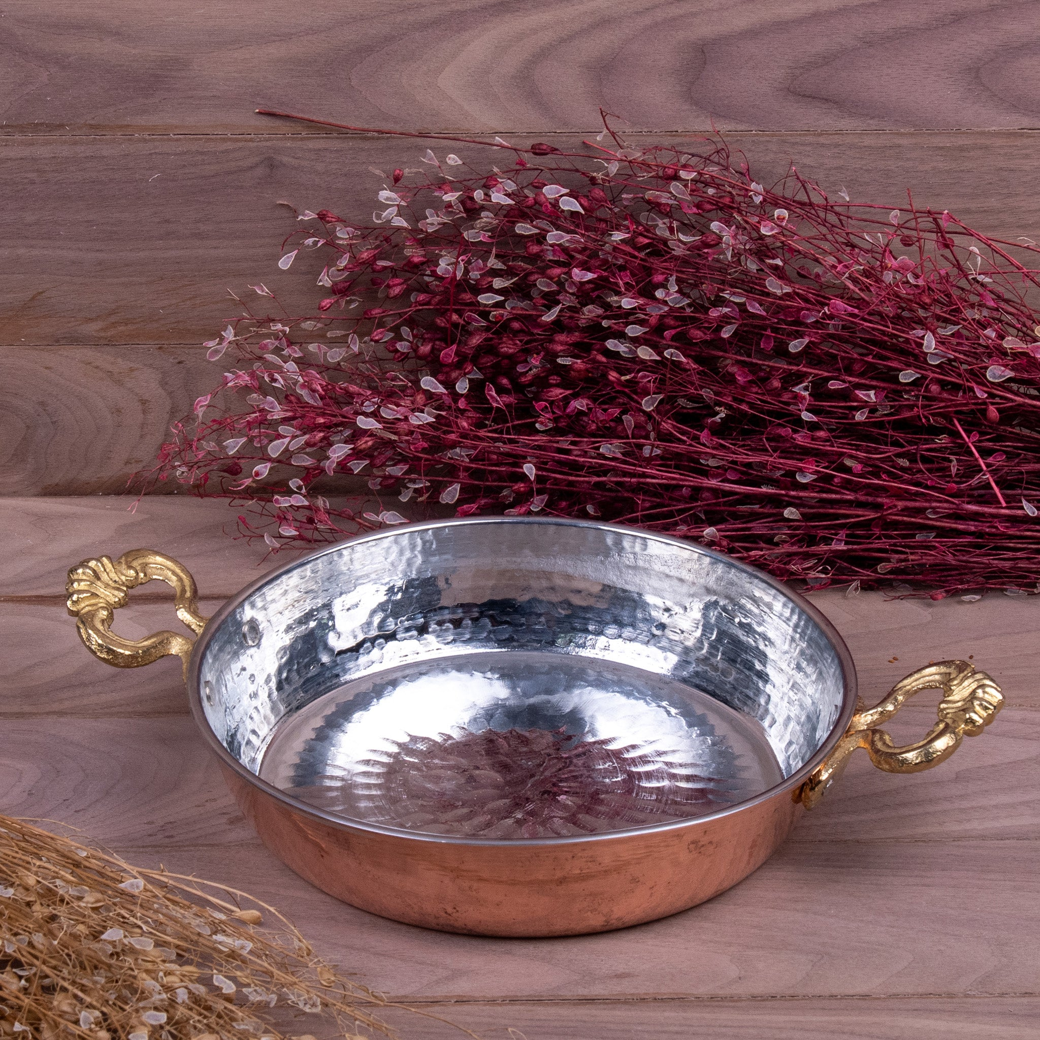 Traditional Hammered Copper Pan - 20cm (8'')-4