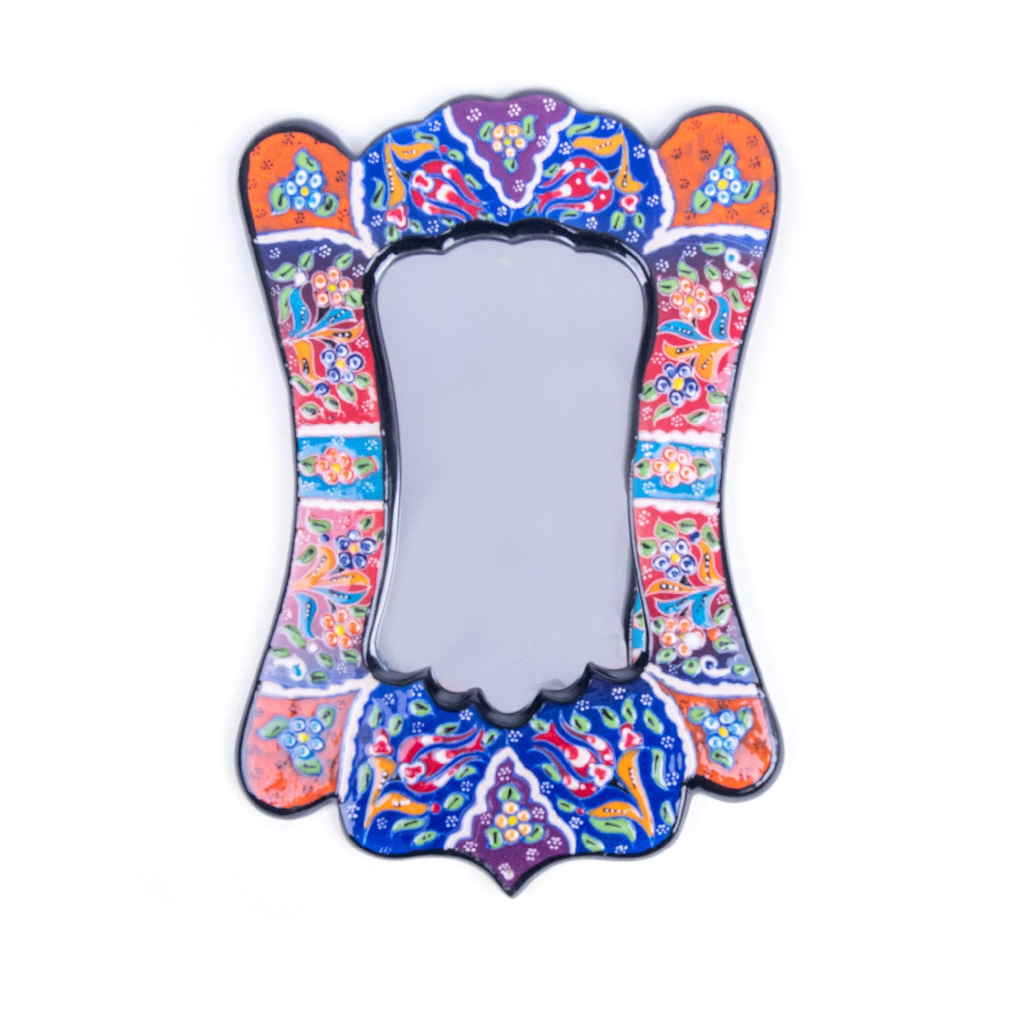 Turkish Ceramic Kutahya Design Handmade Angled Mirror - 30 cm (12'')