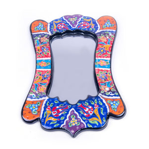 Turkish Ceramic Kutahya Design Handmade Angled Mirror - 30 cm (12'')-1