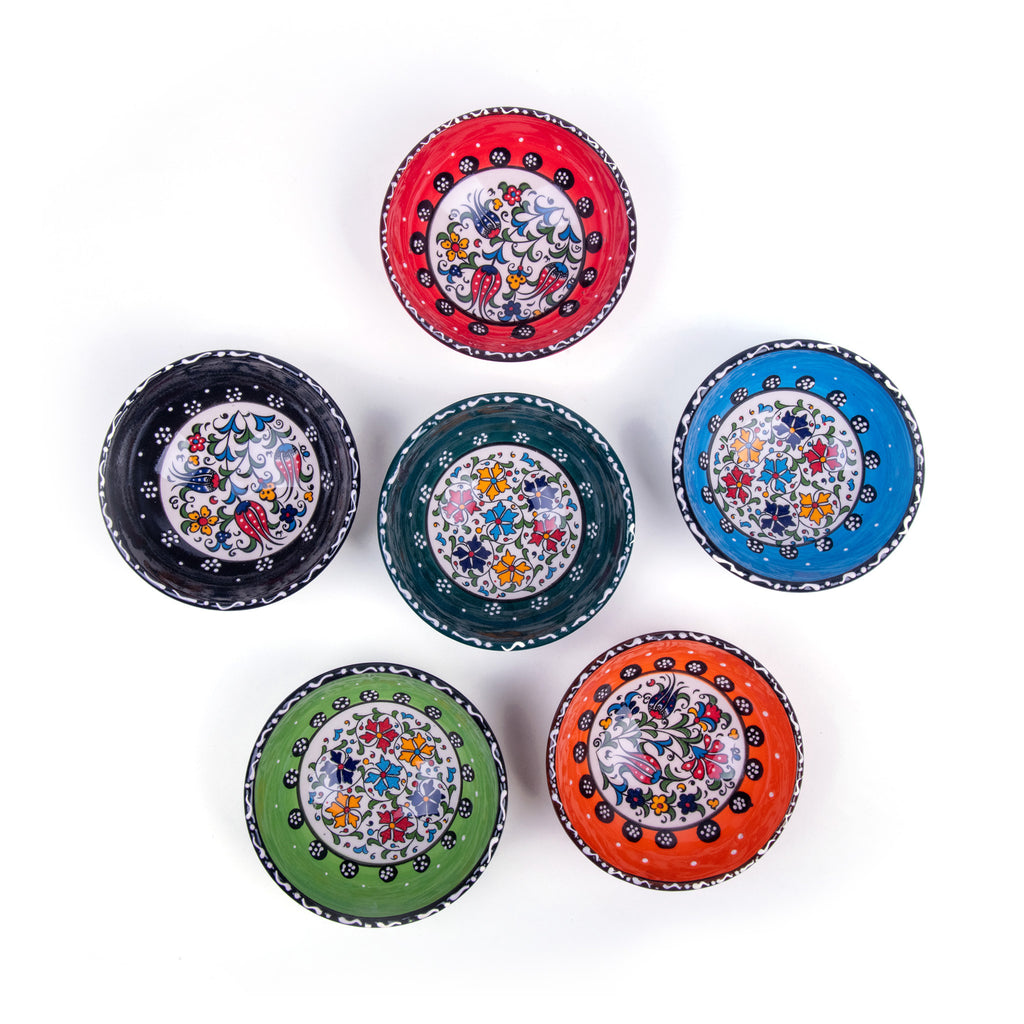 "Turkish Ceramic Iznik Design Handmade Bowl Set Of Six - 12 cm (4.8"")"