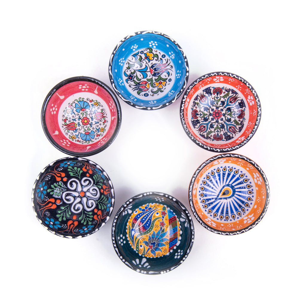 "Turkish Ceramic Iznik Design Handmade Bowl Set Of Six - 8 cm (3.2"")"