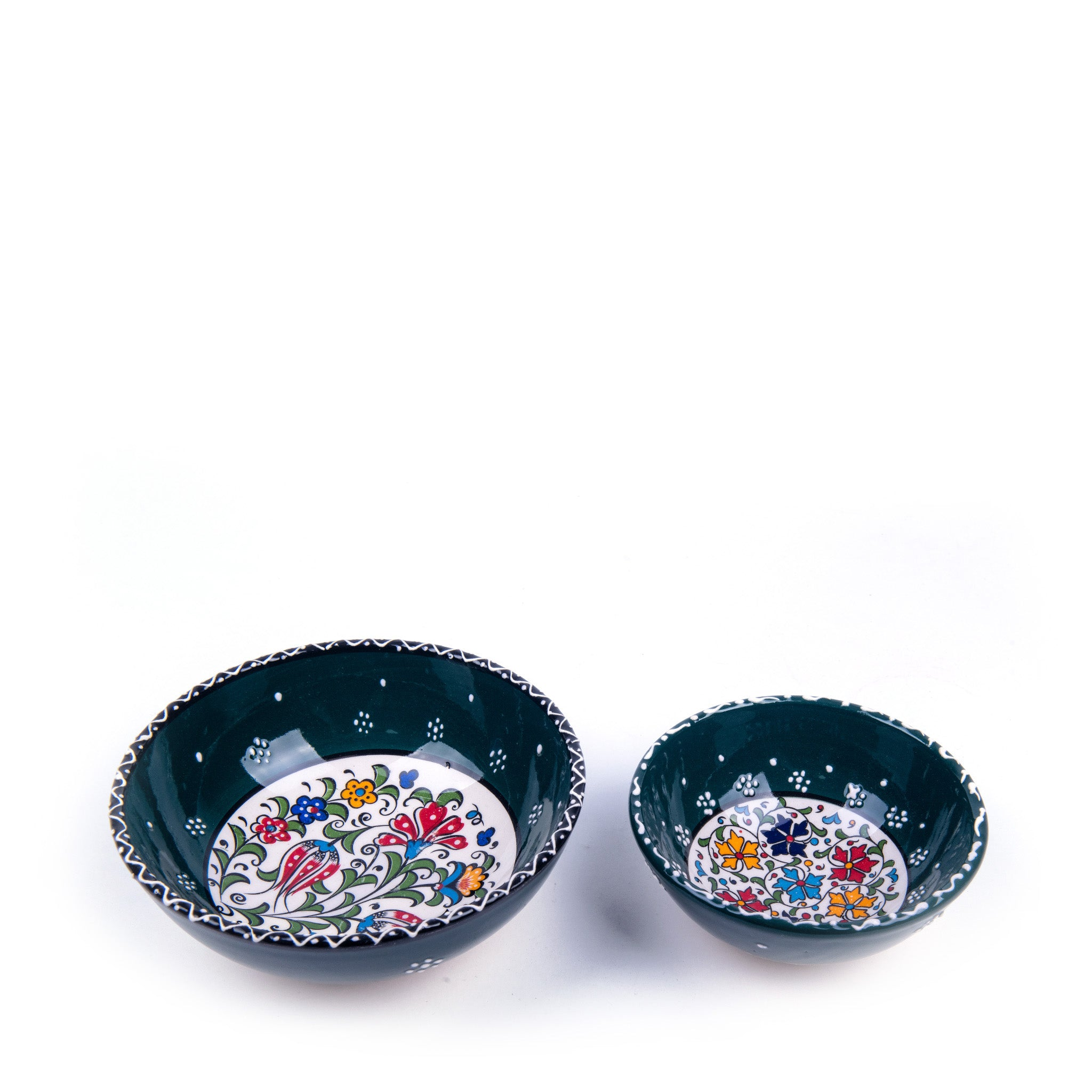 Turkish Ceramic Iznik Design Handmade Bowl Set Of Two-1