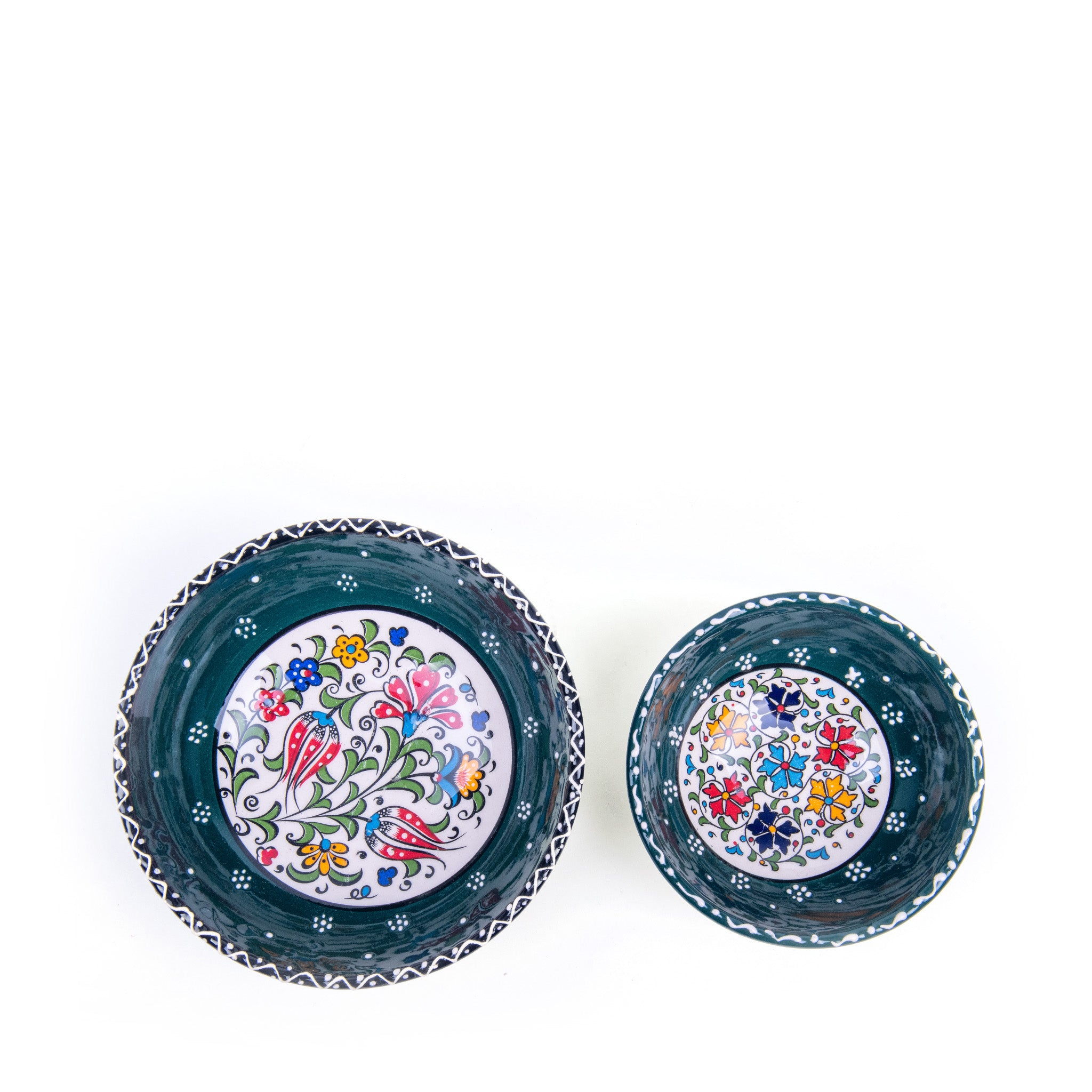 Turkish Ceramic Iznik Design Handmade Bowl Set Of Two