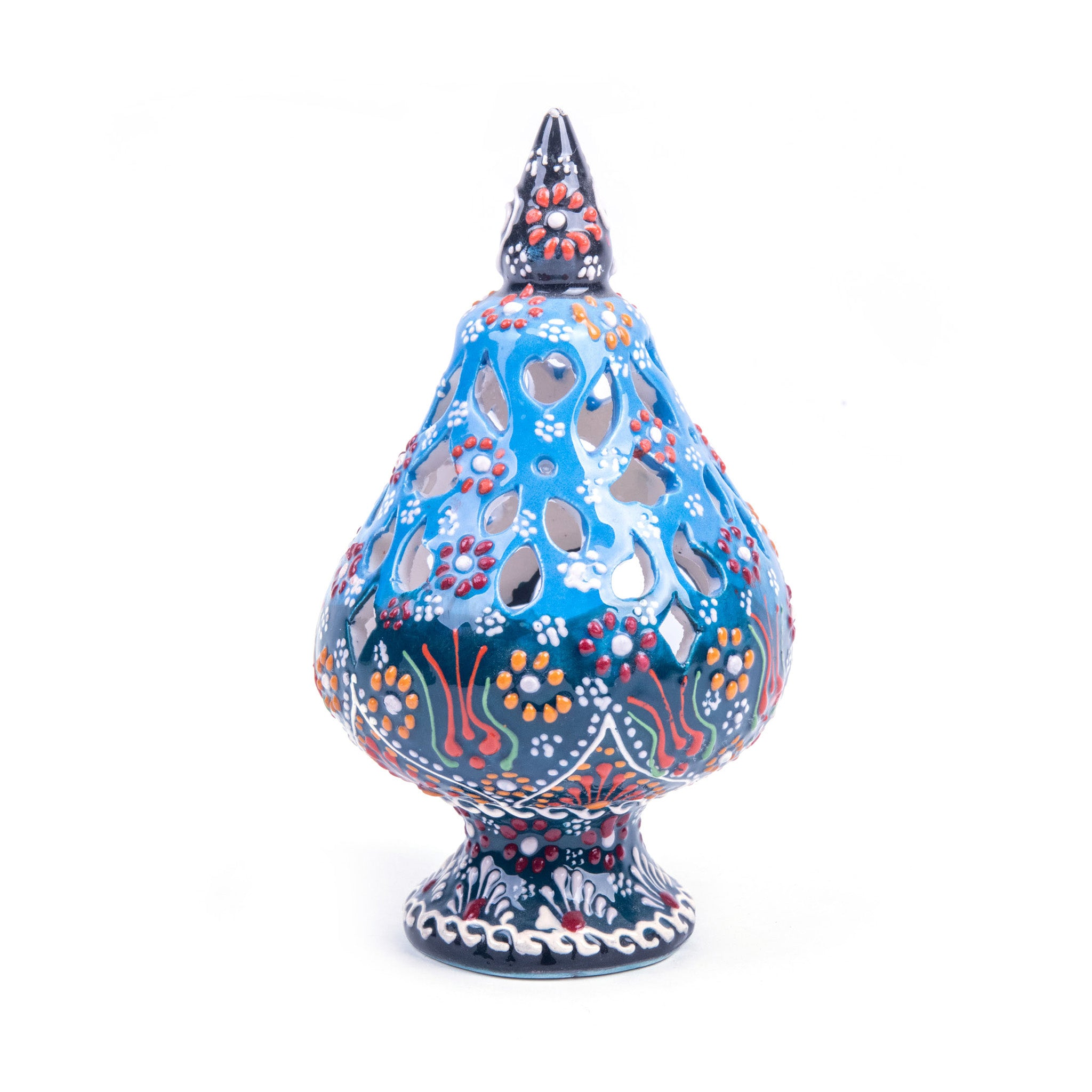 Turkish Ceramic Iznik Design Handmade Candle Holder - Blue