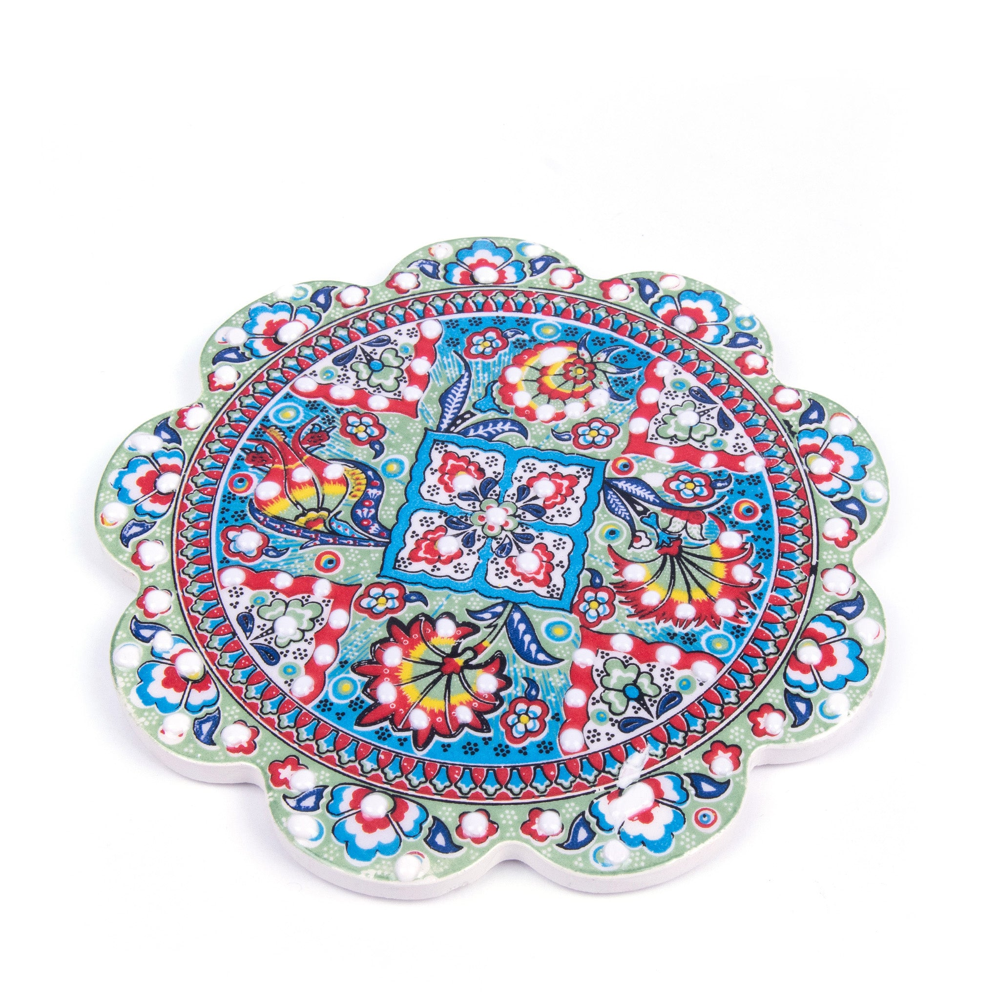 Turkish Ceramic Iznik Design Handmade Embossed Coaster-1