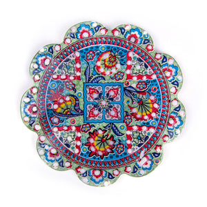 Turkish Ceramic Iznik Design Handmade Embossed Coaster