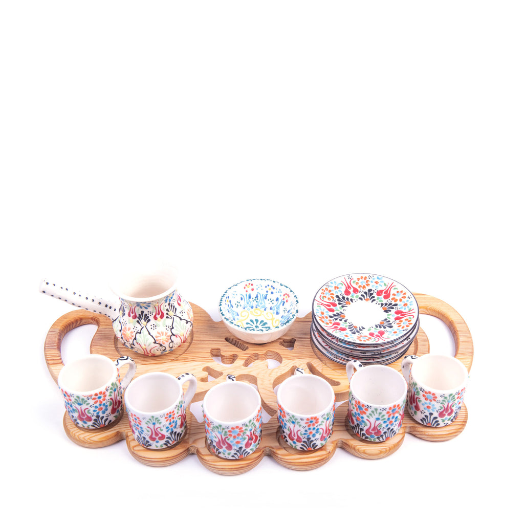 Turkish Ceramic Iznik Design Handmade Coffee Set Of Eight With Wooden Tray
