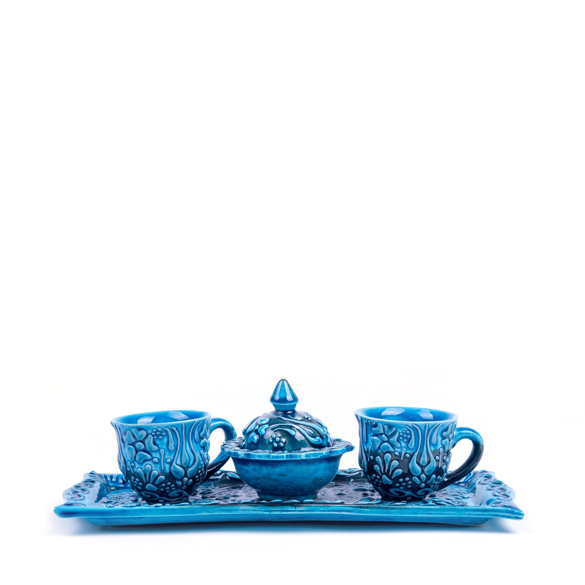 Turkish Ceramic Iznik Design Handmade Coffee Set Of Two With Tray - Turquoise-1