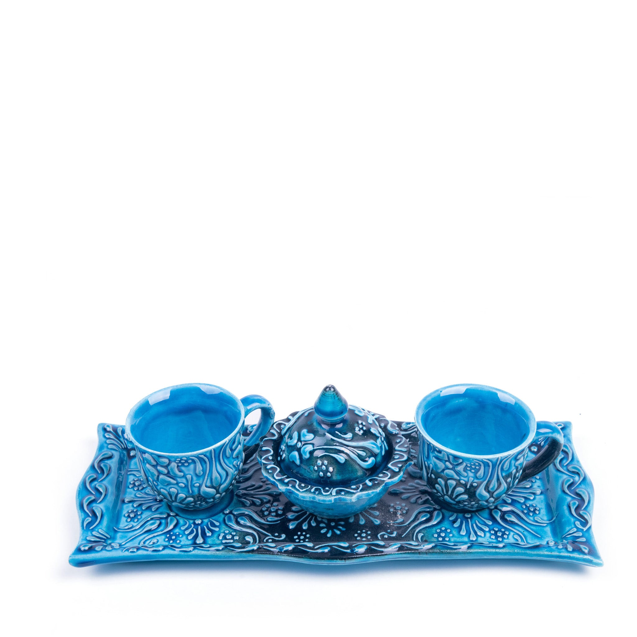 Turkish Ceramic Iznik Design Handmade Coffee Set Of Two With Tray - Turquoise