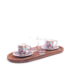 Turkish Ceramic Iznik Design Handmade Coffee Set Of Two With Tray - White-1