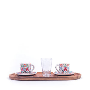 Turkish Ceramic Iznik Design Handmade Coffee Set Of Two With Tray - White-2