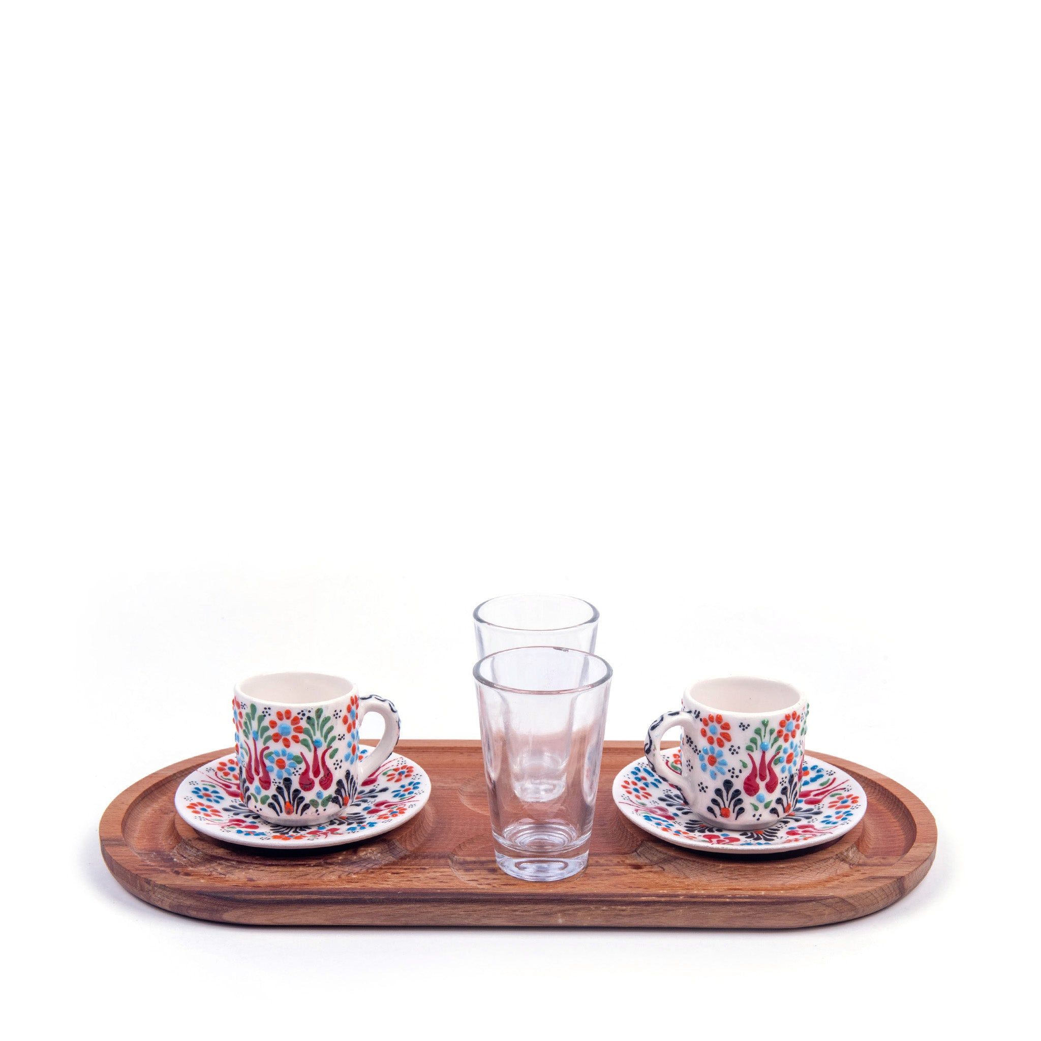 Turkish Ceramic Iznik Design Handmade Coffee Set Of Two With Tray - White