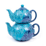 Load image into Gallery viewer, Turkish Ceramic Iznik Design Handmade Embossed Tea Pot