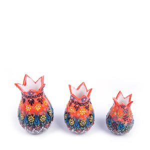 Turkish Ceramic Iznik Design Handmade Embossed Tulip Set Of Three-1
