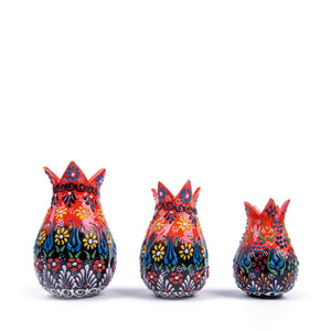 Turkish Ceramic Iznik Design Handmade Embossed Tulip Set Of Three