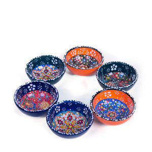 Turkish Ceramic Kutahya Design Handmade Flat Bowl Set Of Six - 8 cm (3.2'')-1