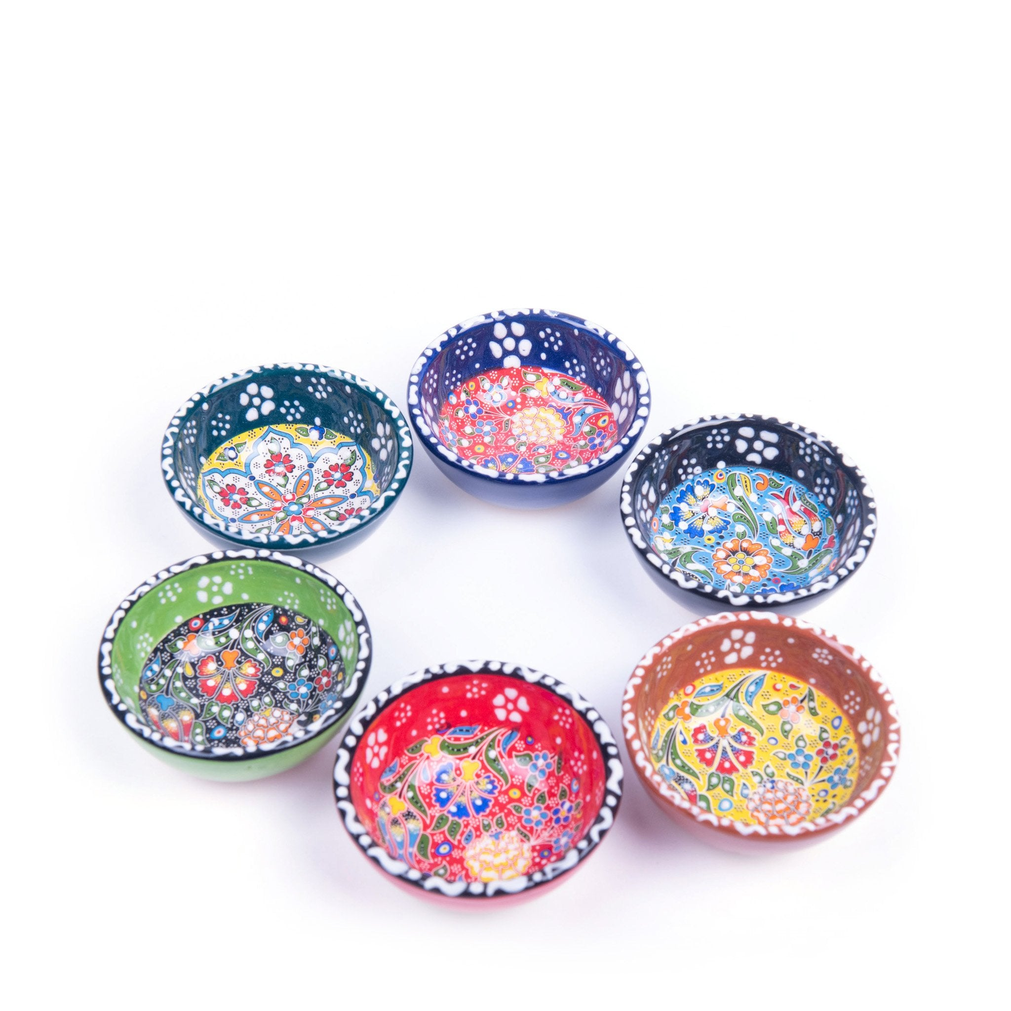 Turkish Ceramic Kutahya Design Handmade Flat Bowl Set Of Six - 8 cm (3.2'')-2