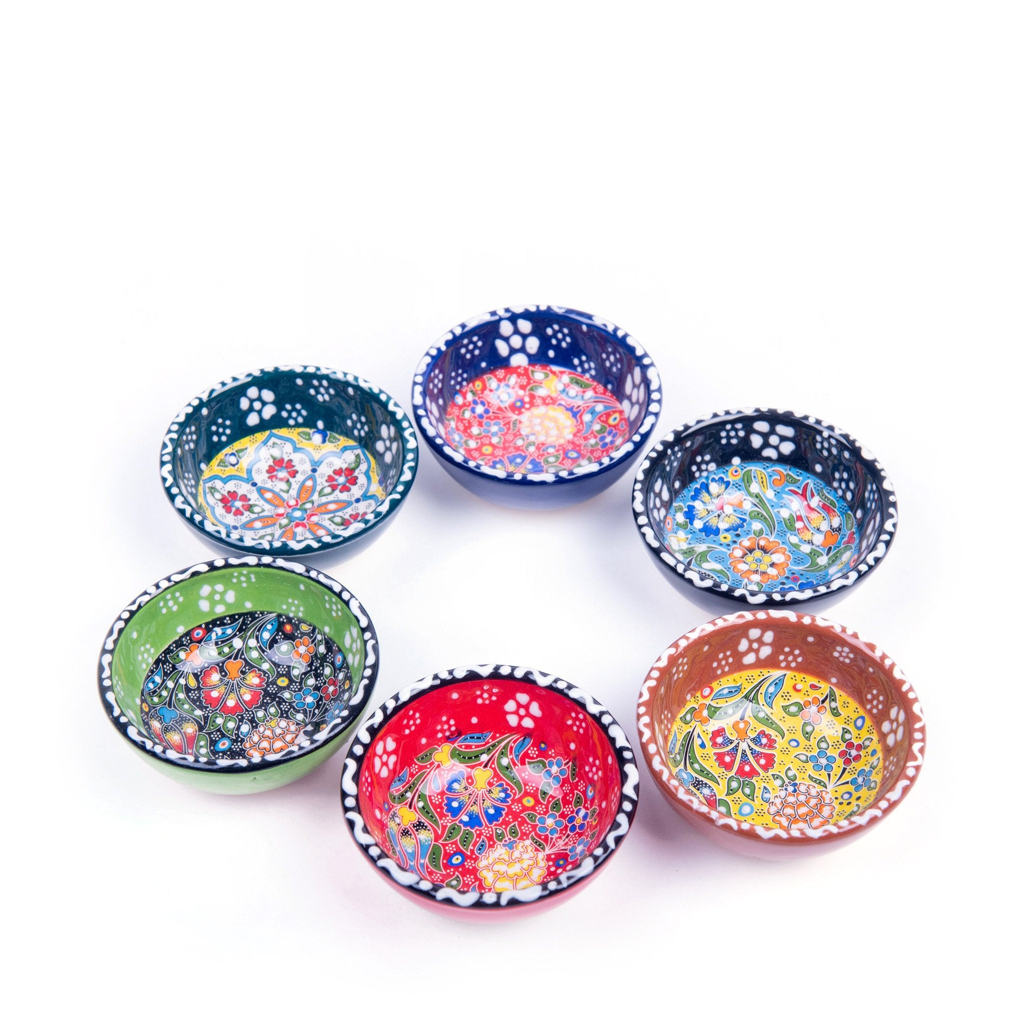 Turkish Ceramic Kutahya Design Handmade Flat Bowl Set Of Six - 8 cm (3.2'')-3