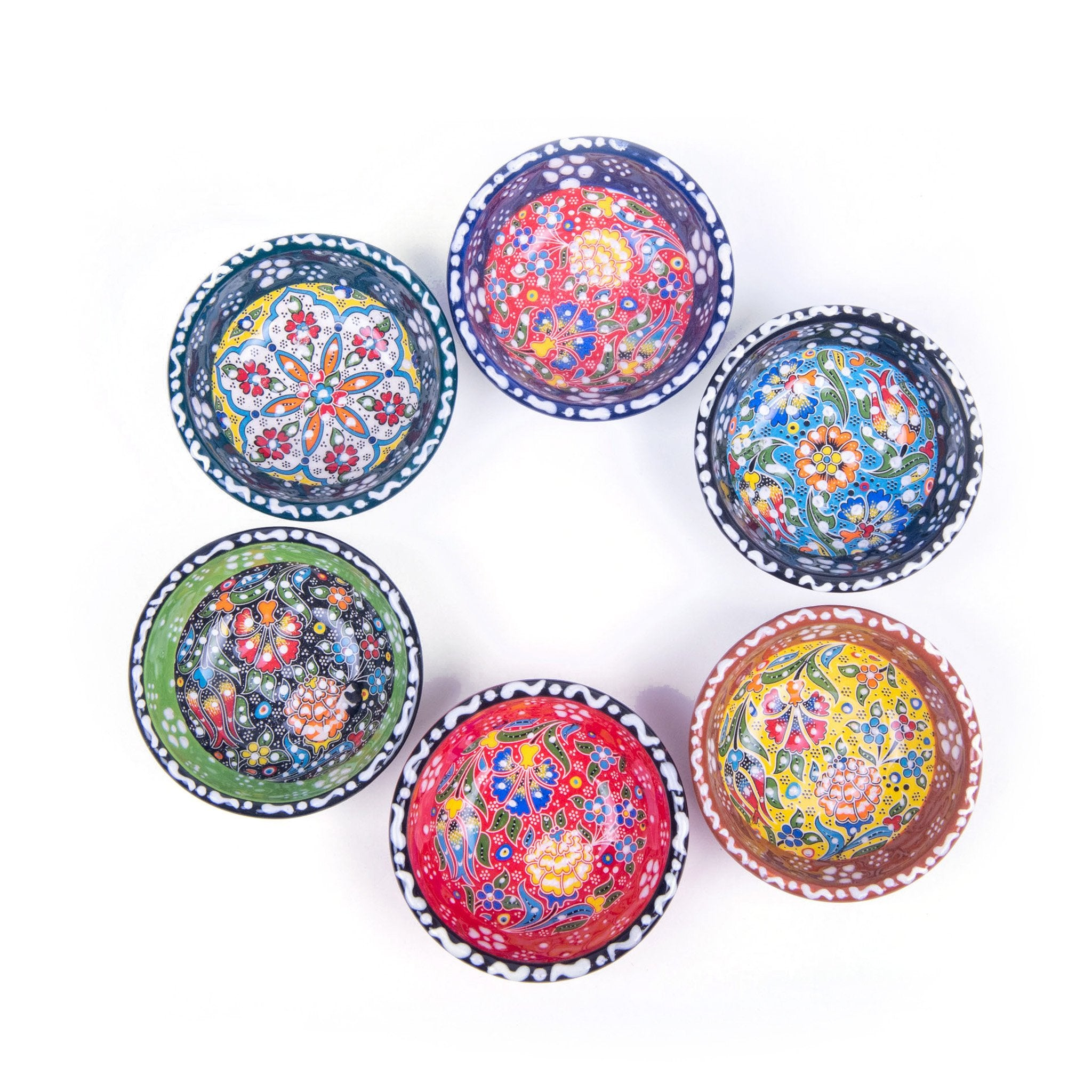Turkish Ceramic Kutahya Design Handmade Flat Bowl Set Of Six - 8 cm (3.2'')-4
