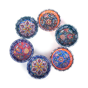 Turkish Ceramic Kutahya Design Handmade Flat Bowl Set Of Six - 8 cm (3.2'')