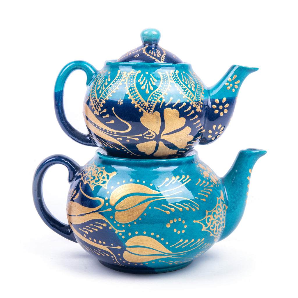 Turkish Ceramic Iznik Design Handmade Gold Design Tea Pot