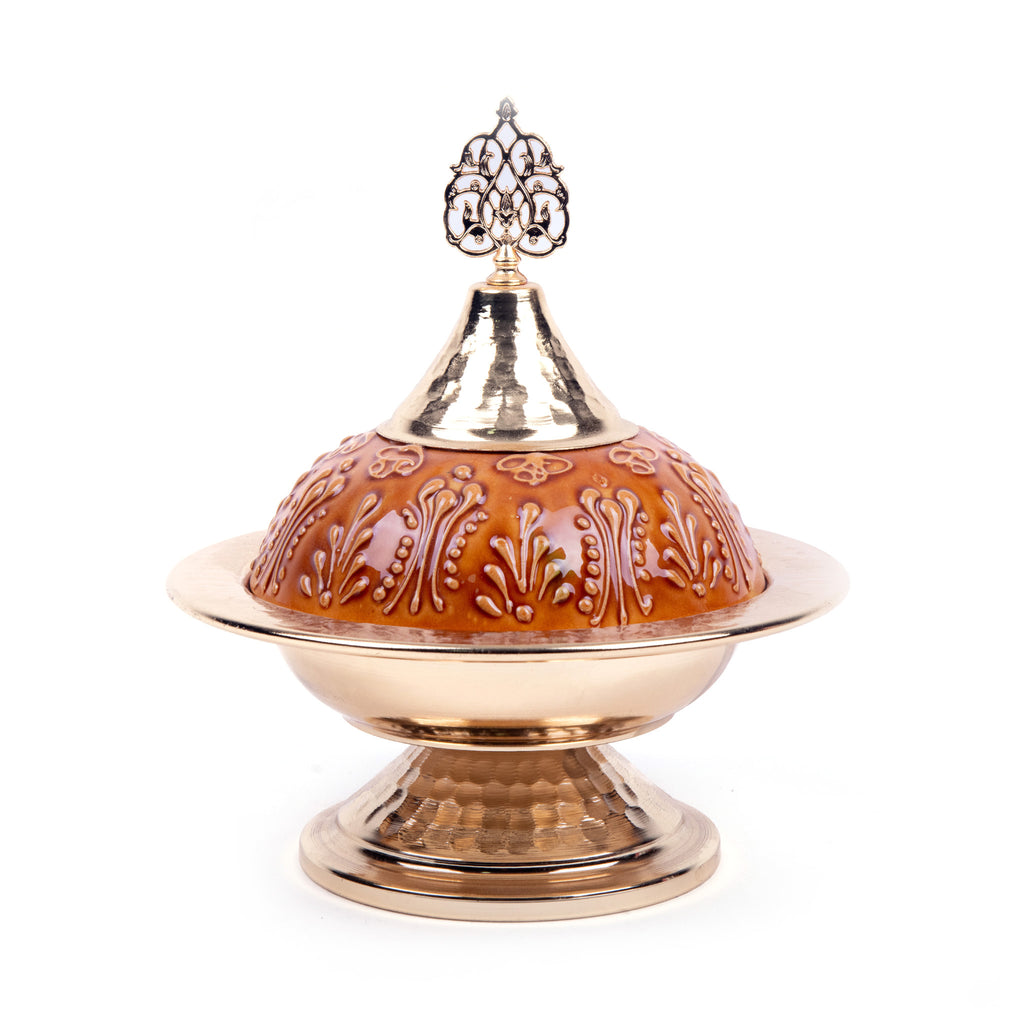 Turkish Ceramic Iznik Design Handmade Gold Sugar Bowl - Caramel