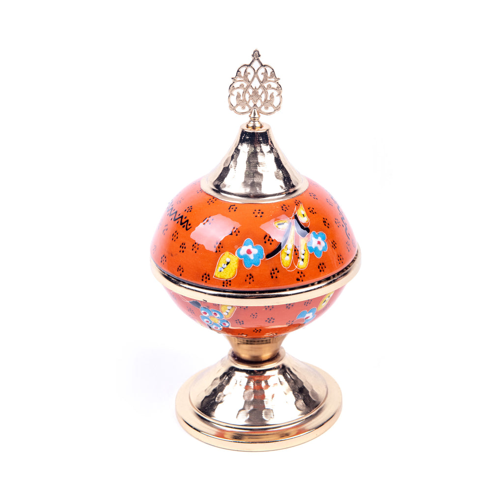 Turkish Ceramic Iznik Design Handmade Gold Sugar Bowl - Orange