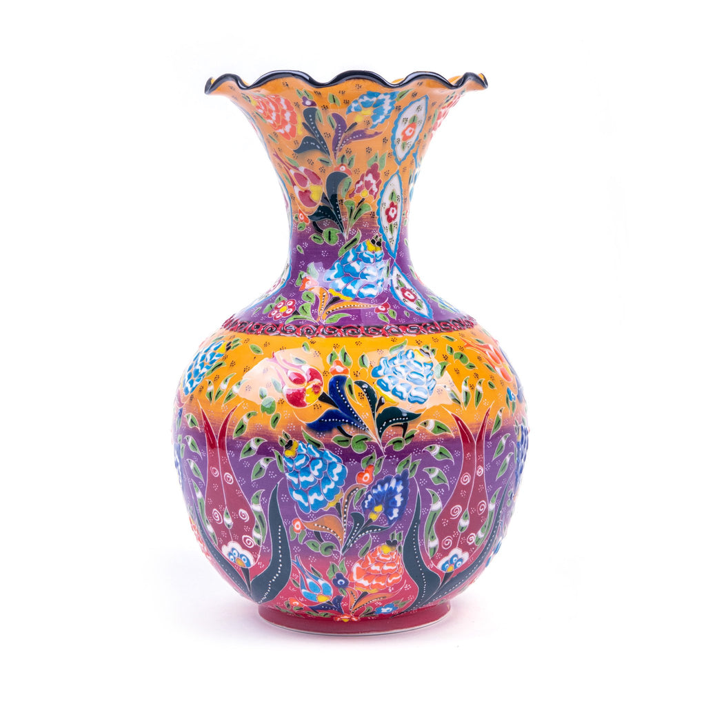 Turkish Ceramic Kutahya Design Handmade Hyacinth Vase - 30 cm (12'')