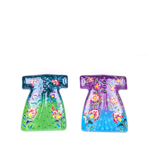 Turkish Ceramic Kutahya Design Handmade Kaftan Set Of Two - 15 cm (6'') - (Green-Purple)-1