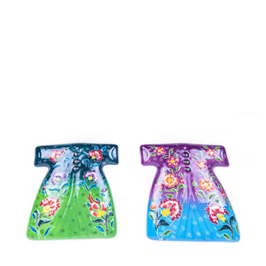 Turkish Ceramic Kutahya Design Handmade Kaftan Set Of Two - 15 cm (6'') - (Green-Purple)-2
