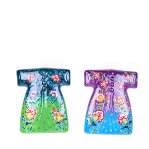 Turkish Ceramic Kutahya Design Handmade Kaftan Set Of Two - 15 cm (6'') - (Green-Purple)